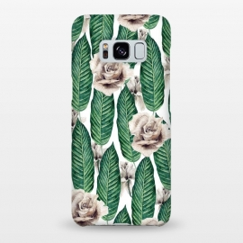 Galaxy S8+  Tropical leaves and white roses by Mmartabc