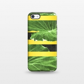 iPhone 5C  Green Leaves and Gold Stripes by Alemi