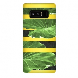 Galaxy Note 8  Green Leaves and Gold Stripes by