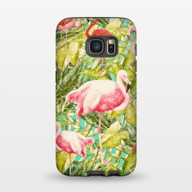 Galaxy S7  Aloha Tropical Flamingo Jungle by Utart ( tropical, nature, natural, summer, exotic, caribbean,tropical, monstera, pattern, jungle, leaf, palm, plant, fashion, seamless, floral, illustration, botanical, hawaii, paradise, trendy, tropic, foliage, hawaiian, beach, aloha,trendy,chic,modern,vintage,spring,florida,hawaii,hawaiian,aloha,illustra)