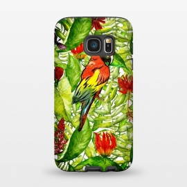 Galaxy S7  Aloha Parrot and Flower Jungle by Utart ( tropical, nature, natural, summer, exotic, caribbean,tropical, monstera, pattern, jungle, leaf, palm, plant, fashion, seamless, floral, illustration, botanical, hawaii, paradise, trendy, tropic, foliage, hawaiian, beach, aloha,trendy,chic,modern,vintage,spring,florida,hawaii,hawaiian,aloha,illustra)