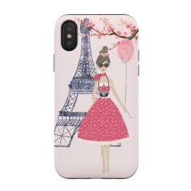Trendy Girl in Spring in Paris by DaDo ART (blossom, tree, spring, flower, pink, nature, season, floral, petal, beautiful, bloom, illustration, flora,  blooming, natural, beauty, botany, summer, springtime,  botanical, romantic, vintage,  romantic,paris,france,french,girl,girly,trendy,cherry blossom,cherryblossom,cherry blossoms,nature,spring)