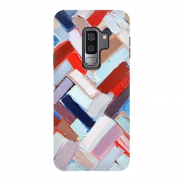 Galaxy S9+  Colorful Chevron by Ann Marie Coolick (abstract painting,modern,colorful,chevron,red,purple,neutral,pop art)