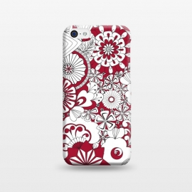 iPhone 5C  70s Flowers - Red and White by Paula Ohreen