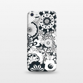 iPhone 5C  70s Flowers - Navy and White by Paula Ohreen