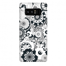 Galaxy Note 8  70s Flowers - Navy and White by Paula Ohreen