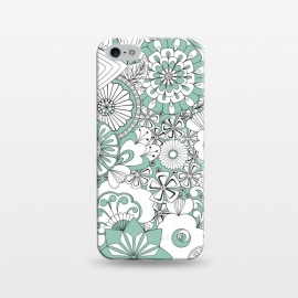 iPhone 5/5E/5s  70s Flowers - Mint Green and White by Paula Ohreen
