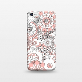 iPhone 5C  70s Flowers - Baby Pink and White by Paula Ohreen