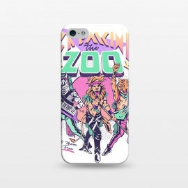 iPhone 5/5E/5s  Breaking the Zoo! by Ilustrata (90s, 80s, retro, metal, glam metal, rock, rockstar, vintage, animals, zoo, lion, tiger, rocknroll, band, music, rock star )
