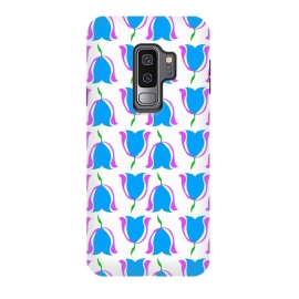 Galaxy S9+  Tulip Love Blue by Bettie * Blue (blue,tulips,flowers,floral,graphic,pattern,bright colors,happy)