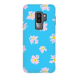 Galaxy S9+  Pink Snow & Sky by Bettie * Blue (daisies, daisy, flowers, floral, pattern,pink,blue, sky,feminine,happy,bright colors)