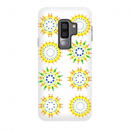 Galaxy S9+  Springtime  by Bettie * Blue (spring, mandala,geometric,colorful,yellow,flowers,pattern,happy,joy,fun)