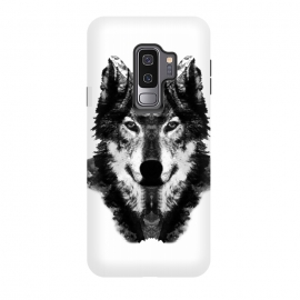 Galaxy S9+  The Black Forest Wolf  by Rui Faria (wolf,wolves,nature,black and white,ink,paint,forest)