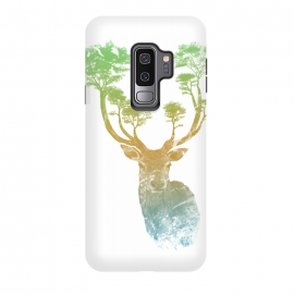Galaxy S9+  Stag by Rui Faria (stag,deer,paint,ink,watercolor,trees,forest,abstract)