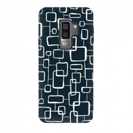Galaxy S9+  On The Quad  by Heather Dutton (geometric,geo,geometric pattern,geometric print,black,navy,navy blue,retro,midcentury,midcentury modern,abstract,pattern,vintage)