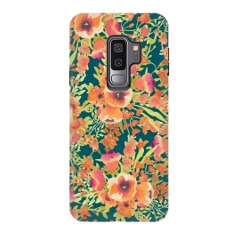Galaxy S9 plus  Floral Bunch by  (pattern, watercolor, coral, orange, blossom, bloom, floral, nature, exotic, colorful, summer)