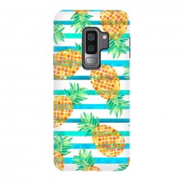 Galaxy S9 plus  Pineapple Sea Stripes by  (pineapple,fruit,stripes,geometric,summer,sea)