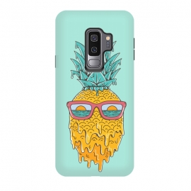Galaxy S9+  Pineapple Summer Blue by Coffee Man (pineaaple, summer,hot,melted,ocean, sea,beach,vacation,spring break,sun, sun glasses,marine,vintage,cool)