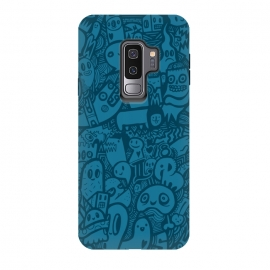 Galaxy S9+  Blue Doodle by Wotto (Doodle, doodles,characters, blue,doodle art, detailed,illustration, sketch, drawing, fun, illustrative,lines, blue only, color,animals,cute art, kawaii)