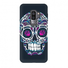 Galaxy S9+  Calavera IV Neon  by Wotto (skull, day of the dead,skulls,floral,sugar skull,neon, neon colors, colorful, death, dead, skull face,roses,flowers,patterned,calavera,mexican art, Mexico, pattern,cool, wotto,dark arts)