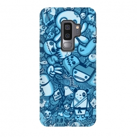 Galaxy S9+  Raindrops and Doodles by Wotto (sea, ocean, doodles,doodle,drawing, sketch,doodle art,pattern, detailed, characters, cute, fun, kawaii,ocean creatures,blue, blues,line,line art, hand drawn,drawings,wotto)