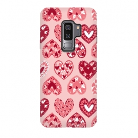 Galaxy S9+  Pink Papercut Hearts by Kimrhi Studios (Pink,Papercut,Hearts,Love)