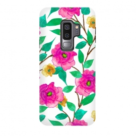 Galaxy S9 plus  Floral Forever by  (graphic design, pattern, watercolor, pink, blossom, nature, floral, flowers, bloom, botanical, exotic, green, yellow, colorful, bold, bright)