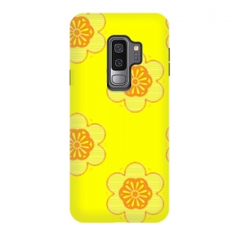 Galaxy S9+  Flowerama by Bettie * Blue (yellow,bright colors,vintage,retro,groovy,hip,flowers,floral,orange,fun,vibes,throwback,sixties)