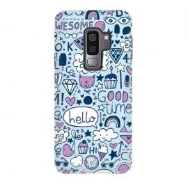 Galaxy S9 plus  Good Times Blue by  (pizza,cloud,rainbow,lips,doodle,gem,lollipop,fun,pineapple)