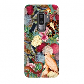 Galaxy S9+  Floral and Animals pattern by Burcu Korkmazyurek (birds,snake,tropical,nature,garden,jungle,forest,animals,vintage,retro,oldschool,botanical)