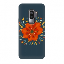Galaxy S9 plus  Decorative Whimsical Orange Flower by