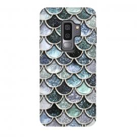 Galaxy S9 plus  Multicolor Silver Metal Foil Mermaid Scales by
