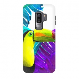 Galaxy S9 plus  Tropical Toucan Palm Leaves by