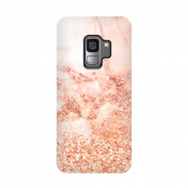 Galaxy S9  Salmon Glitter Marble by Utart (Glitter, Stylish, Ombre, Girly, Marble, Marbled, Nature, Texture, Gold, Geode, Terrazzo, Rose, Metallic, Scandi, Bohemian, Boho, Scandinavian,  stone, crystal, quartz, gemstone, gem, granite, tile, shimmer, shimmery, shiny,  metallic, gold, trendy, girly, simply, simple, glitter, chrystal, ink, terr)
