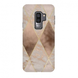 Galaxy S9+  Marble Rose Gold Argyle Pattern by Utart (Glitter, Stylish, Ombre, Girly, Marble, Marbled, Nature, Texture,  Geode ,Terrazzo,  Metallic, Scandi, Bohemian, Boho, Scandinavian, stone, crystal, quartz, gemstone, gem, granite,  shimmer, shimmery, shiny ,metallic,  trendy, girly, simply, simple, glitter, chrystal ,ink,rosegold,rose gold,argyle,s)