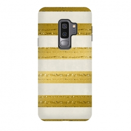 Galaxy S9 plus  Golden Glitter Lines On Cream by  (glitter, glamour, precious, glamorous, shiny,sparkle, luxury, elegant, feminine, exclusive, gold, metal, beautiful,  shimmering, sparkle, extravagant, exquisite, fancy, fashionable, stripes, striped, cream, off white)