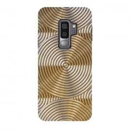 Galaxy S9 plus  Shiny Golden Metal Embossed Circles by  (golden, shiny, engraved, metal, embossing, pattern, shimmering, ornament, luxury, carving, etching; textured; elegant; feminine; ornamental, structure, metallic, precious, rich, expensive, gift, glamour, feminine)