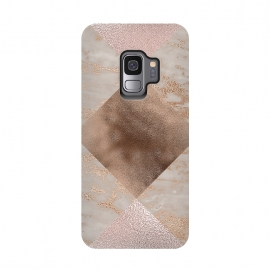 Galaxy S9  Rose Gold and Marble Quadrangle Pattern by Utart (Glitter, Stylish, Ombre, Girly, Marble, Marbled, Nature, Texture,  Geode ,Terrazzo,  Metallic, Scandi, Bohemian, Boho, Scandinavian, stone, crystal, quartz, gemstone, gem, granite,  shimmer, shimmery, shiny ,metallic,  trendy, girly, simply, simple, glitter, chrystal ,ink, malachite, agate,quadrangl)