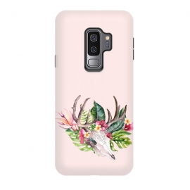 Galaxy S9 plus  BOHO  Skull with tropical flowers and foliage by