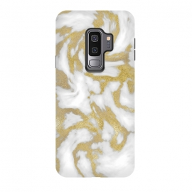Galaxy S9 plus  White Gold Faux Marble by  (shiny, concrete,white, shimmering, luxury, glamorous, chic, gift,gold, golden, metal, elegant, feminine, metallic, precious, rich, expensive, glamour, marble, veins, marbled, extravagant, exquisite)