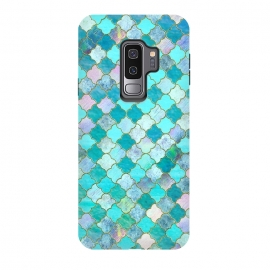 Galaxy S9+  Multicolor Teal Moroccan Shapes Pattern  by Utart (geometrical, Moroccan, Morocco, blue, teal, gold, turquoise, shape, arabesque, golden, glitter, texture, sparkle, shiny ,luxury, shine, glow, metallic ,valentine ,glamour, love ,wedding, glowing ,effect ,metal ,blur, brilliant, twinkle ,valentines day, elegant ,fashion ,gleam, gloss ,brilliance ,ara)