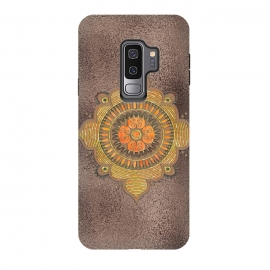 Galaxy S9 plus  Mandala On Copper by  (Mandala, symbol, copper, brown glitter, glamour, precious, glamorous, shiny, sparkle, luxury, elegant, feminine, exclusive, metallic, metal, beautiful,  shimmering, elegance, extravagant, exquisite, fancy, fashionable, rich, gift,gold,ornament)