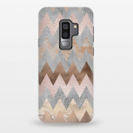 Galaxy S9+  Rose Gold Marble Chevron by Utart (Glitter, Stylish, Ombre, Girly, Marble, Marbled, Nature, Texture,  Geode ,Terrazzo,  Metallic, Scandi, Bohemian, Boho, Scandinavian, stone, crystal, quartz, gemstone, gem, granite,  shimmer, shimmery, shiny ,metallic,  trendy, girly, simply, simple, glitter,chevron,pattern,zigzag,trendy,rose gold,ro)