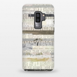 Galaxy S9 plus  Vintage Paper Collage by  (paper, retro, collage, patchwork, vintage, nostalgig, newspaper, whimsical, stripes, white, black, beige, brown, words, text, typography, journal, distressed, grunge,gift)