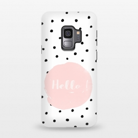 Galaxy S9  Hello on polka dots  by Utart (texture, abstract, pattern, polka, illustration, white, graphic, art, circle, dot, modern, retro, geometric, decorative, vintage, simple, black, girl, fashion, cute, style, trendy, pastel, polka dot, dotted, romantic, elegant, polka dots background, pink,typography, font, text, typographic, letterin)