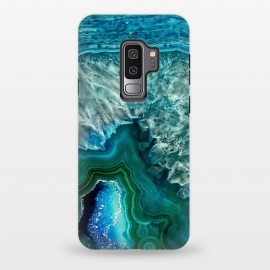 Galaxy S9+  Ocean Blue Glitter Agate by Utart (Glitter, Stylish, Ombre, Girly, Marble, Marbled, Nature, Texture,  Geode ,Terrazzo,  Metallic, Scandi, Bohemian, Boho, Scandinavian, stone, crystal, quartz, gemstone, gem, granite,  shimmer, shimmery, shiny ,metallic,  trendy, girly, simply, simple, glitter, chrystal ,ink, malachite, agate, indigo,g)