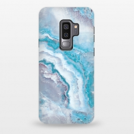 Galaxy S9 plus  Teal Veined Agate by  (Glitter, Stylish, Ombre, Girly, Marble, Marbled, Nature, Texture,  Geode ,Terrazzo,  Metallic, Scandi, Bohemian, Boho, Scandinavian, stone, crystal, quartz, gemstone, gem, granite,  shimmer, shimmery, shiny ,metallic,  trendy, girly, simply, simple, glitter, chrystal ,ink, malachite, agate, indigo,b)