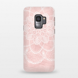 Galaxy S9  White Mandala on Pink Faux Marble by Utart (trendy, girly, simply, simple,marble,pink,mandala,floral,flower,blossom, tree, spring, flower, pink, nature, season, floral, petal, beautiful, bloom, illustration, flora,  blooming, natural, beauty, botany, summer, springtime,  botanical, romantic, vintage,  romantic)
