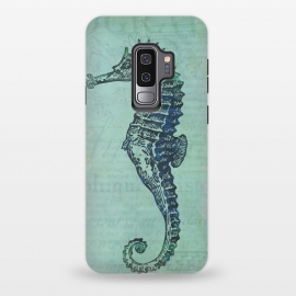 Galaxy S9 plus  Vintage Seahorse by  (seahorse, sea horse, marine life, sea life, beach, sea, ocean, underwater, collage, illustration, vintage, retro, gift, nostalgic, old, distressed, animal, nature,cute,little)