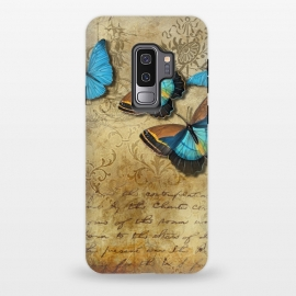 Galaxy S9+  Blue Butterfly Vintage Collage by Andrea Haase